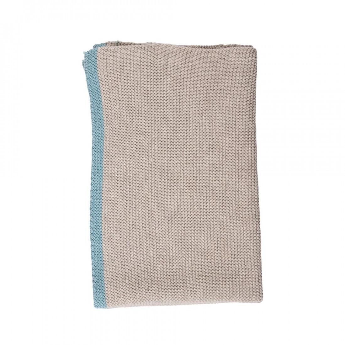 Broste keuken handdoek knit, donkergrijs turquoise