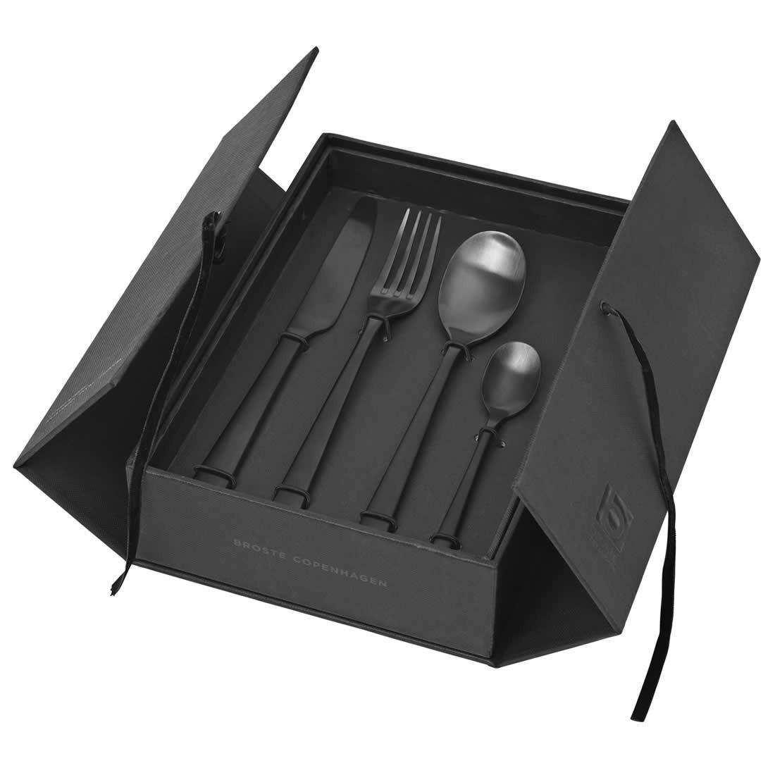 broste hune bestekset mat zwart. Black Bedroom Furniture Sets. Home Design Ideas