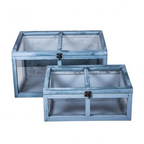 Blauw houten kasjes Malea (set van 2), met glas