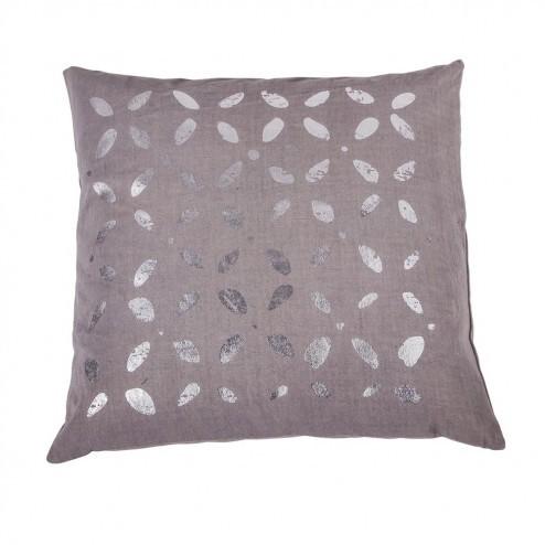 Grijze kussenhoes Lotta met zilver patroon, 50x50 cm