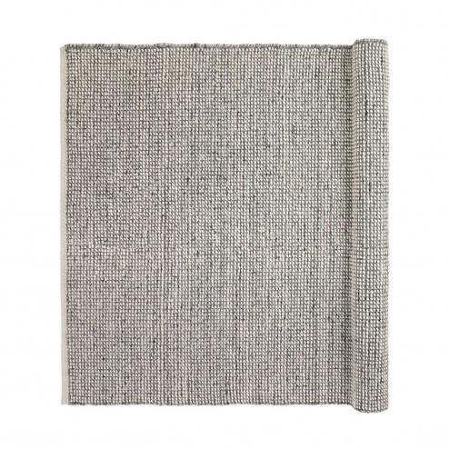 Broste vloerkleed Dave, grijswitte melange van wol en viscose, 70x140cm