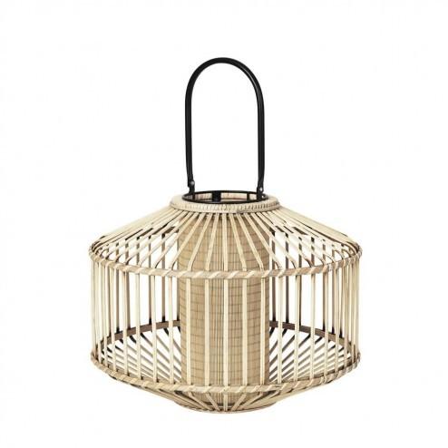 Broste lantaarn Flax, bamboe en glas, Ø40cm