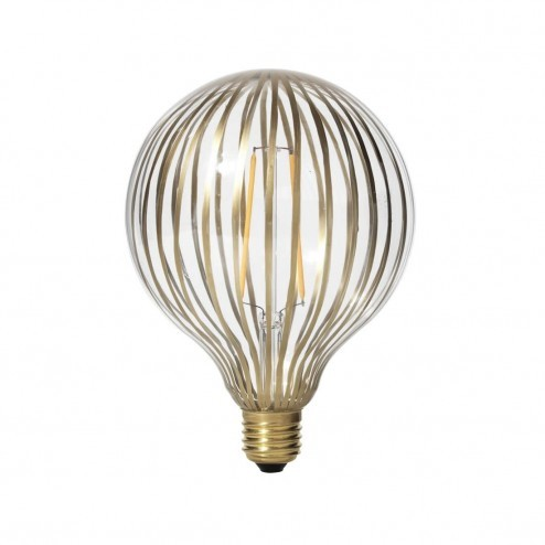 Broste LED lamp Stripe van messing gestreept glas, ø12,5cm