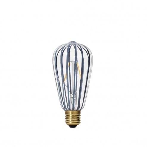 Broste LED lamp Stripe van grijs gestreept glas, ø6,4cm