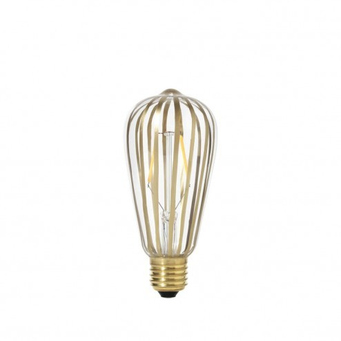 Broste LED lamp Stripe van messing gestreept glas, ø6,4cm