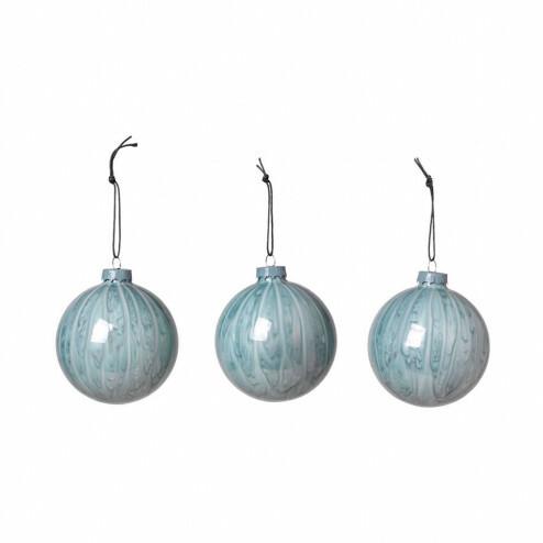 Broste glazen kersballen Marble in blauw (set van 3)