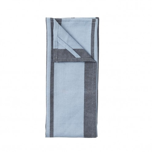 Broste theedoeken Yrsa van linnen en katoen, blauw (set van 2)
