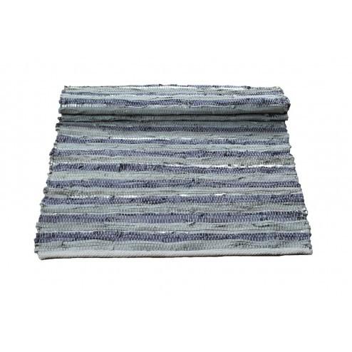 Broste vloerkleed Gerda, grijs lavendelblauw zilver leer, 70x140cm