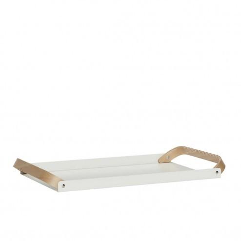 Hübsch wit metalen dienblad met houten handvat