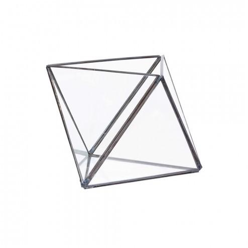 Hübsch glazen terrarium in diamantvorm, 16x18cm