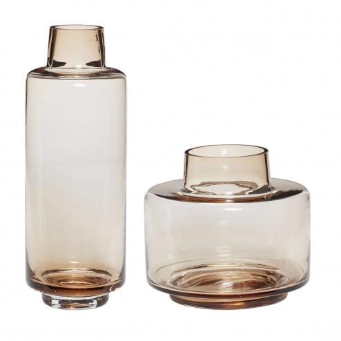 Hübsch Interior amberkleurige glazen vazen (set van 2)