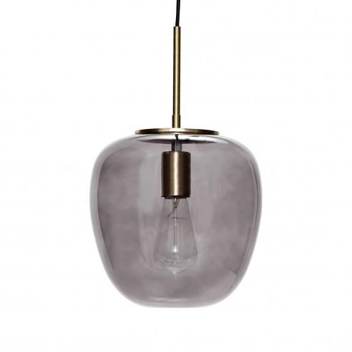 Hübsch rookglazen hanglamp met messing, ø30cm
