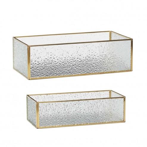 Hübsch glazen opbergdozen (set van 2), 25+30cm