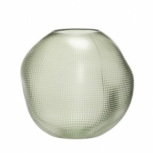 Hübsch groene glazen vaas, Ø21cm