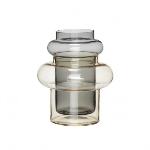 Hübsch ronde vaas van getint glas, Ø19cm