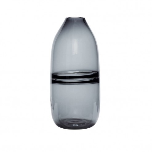 Hübsch Interior grijze glazen vaas, ø14cm