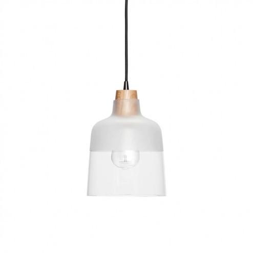 Hubsch hanglamp van glas en hout, ø18cm