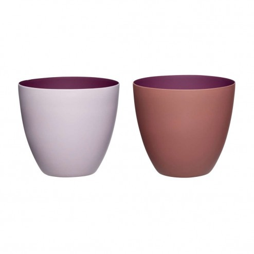 Hübsch theelichthouders van porcelein, bordeaux en roze