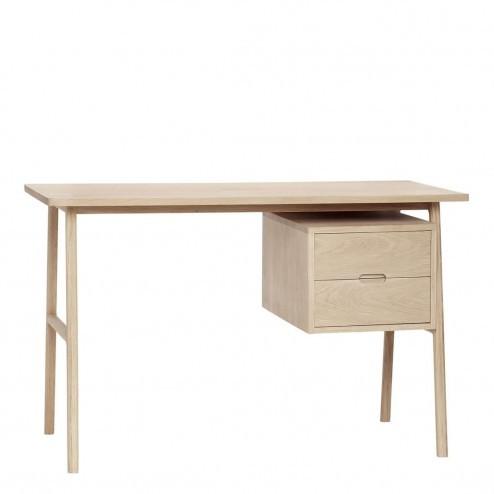 Hübsch eiken bureau met twee lades, 120cm