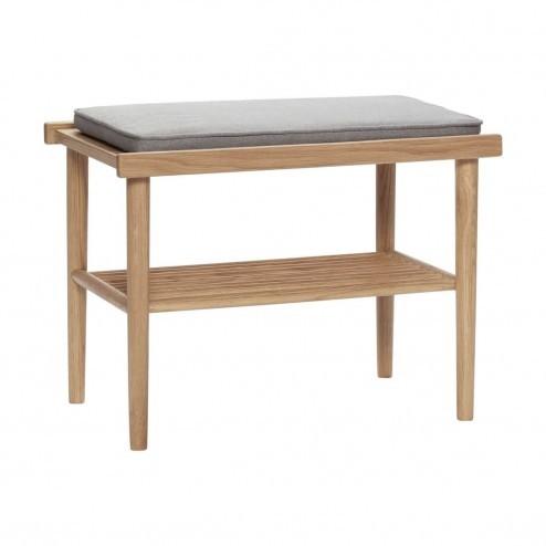 Hübsch eiken zitbank met grijs kussen, 60cm