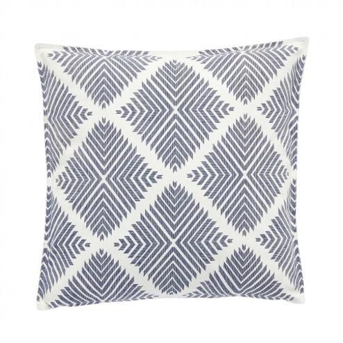 Hubsch sierkussen in blauw-wit met grafisch patroon, 50x50cm