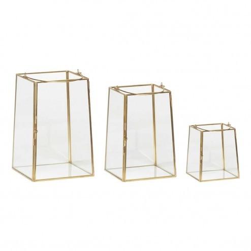 Hübsch Interior lantaarns van glas en messing (set van 3)