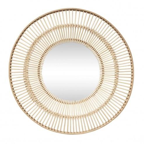 Hübsch Interior ronde spiegel met houten spijlen, Ø61cm