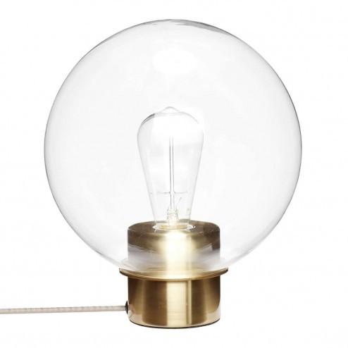 Hubsch ronde glazen tafellamp met messing voet, ø24cm