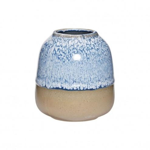 Hübsch keramieken vaas, blauw/naturel, ø10cm
