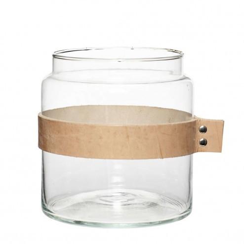 Hübsch vaas van helder glas met leren band