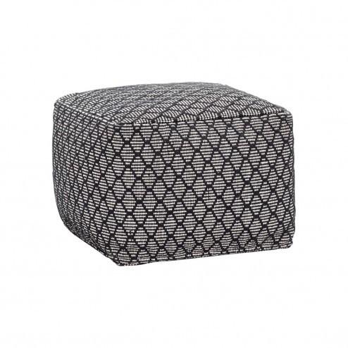Hübsch vierkante poef met zwart-wit patroon, 45cm