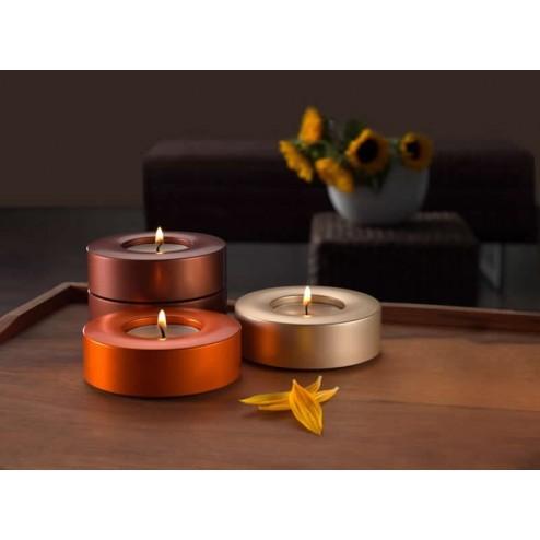 Candela waxinelicht houders in maroon, orange en gold