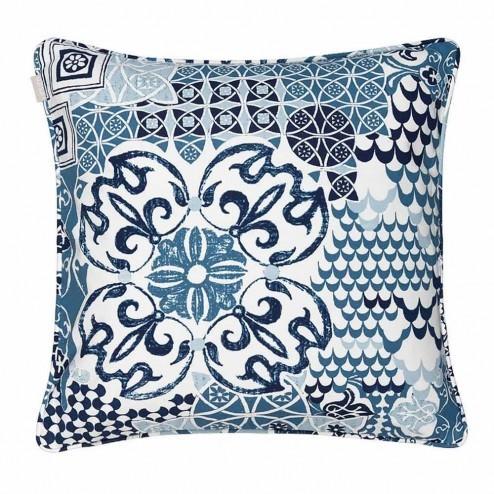 Linum kussenhoes Mosaique, blauw 50x50cm