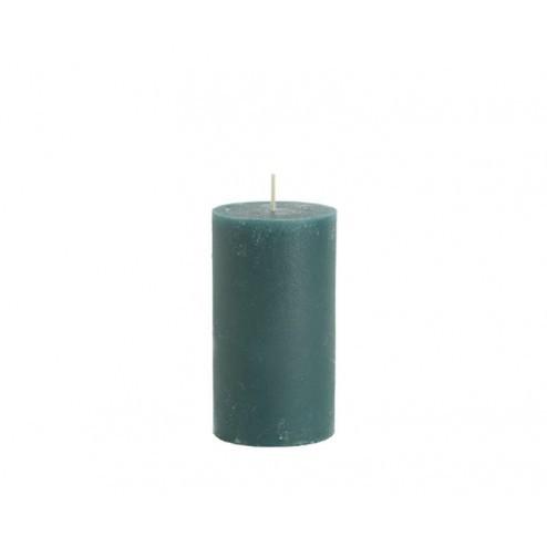 Rustik Lys rustieke kaars, 7x13,5cm, petrol groen