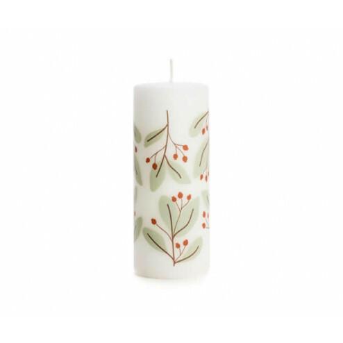 Rustik Lys kerstkaars Twig, 6x15cm, zacht groen