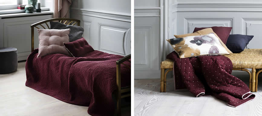Kussens en plaids in bordeaux rood