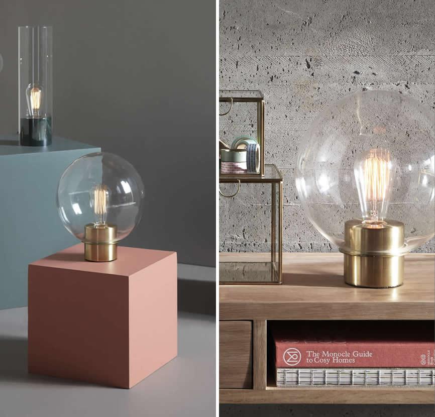 Glazen bolle tafellamp van Hubsch