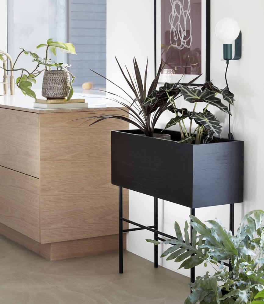 Zwarte esdoorn houten plantenbak van Hubsch Interior